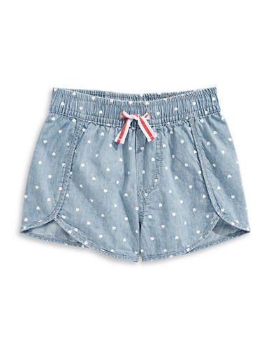 Preview Chambray Heart Dot Pattern Shorts-BLUE-6
