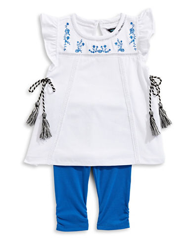 Preview Embroidered Tunic and Ruched Leggings Set-WHITE-4
