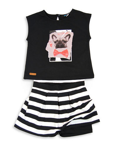 Preview Two-Piece Pug Tee and Stripe Skort Set-BLACK-6