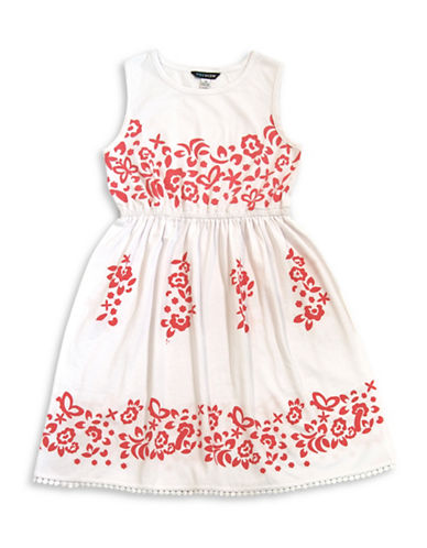 Preview Sleeveless Lace-Trimmed Dress-WHITE-14
