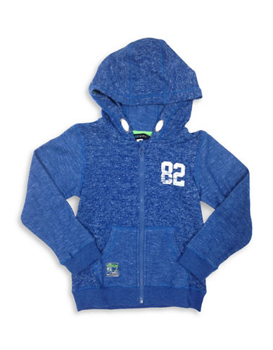 Preview Boys Heathered Zip-Front Hoodie-BLUE-2