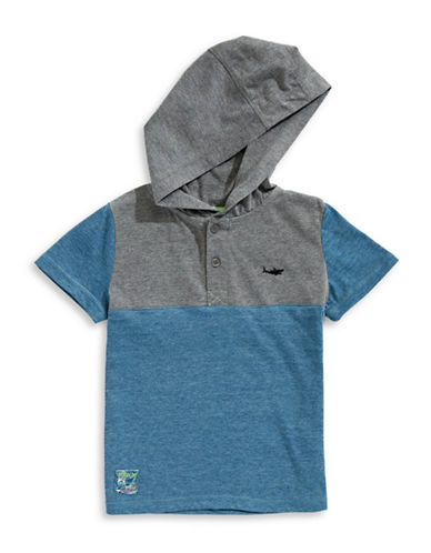 Preview Colourblocked Hooded Tee-BLUE/GREY-2