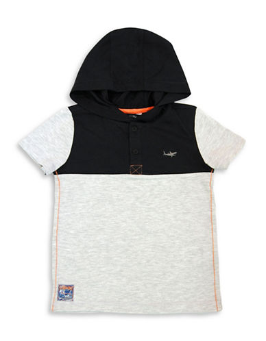 Preview Colourblocked Hooded Tee-GREY-3