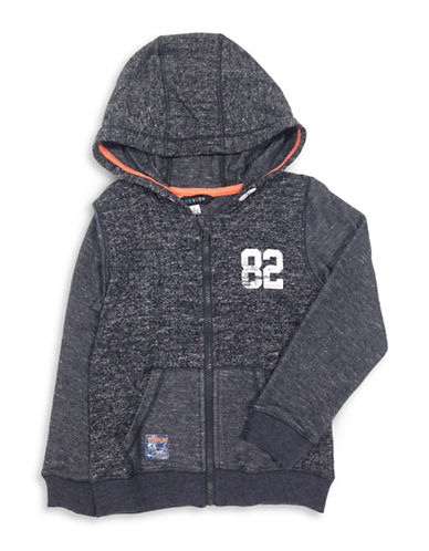 Preview Boys Heathered Zip-Front Hoodie-BLACK-X-Large
