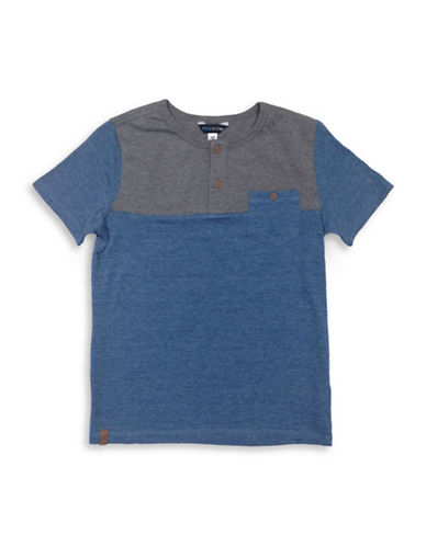 Preview Boys Colourblock Short-Sleeve Henley-BLUE-Large