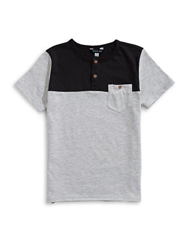Preview Boys Colourblock Short-Sleeve Henley-GREY-Medium