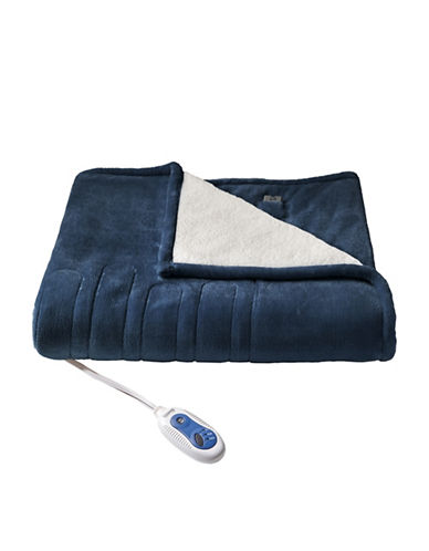 Beautyrest Black Luxury Heated Electric Premium Plush to Sherpa Throw-NAVY-One Size