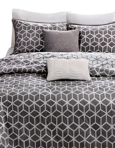 Madison Park Alexa Five-Piece Duvet Cover Set-GREY-King