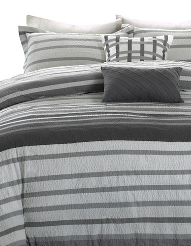 Madison Park Neruda Five-Piece Duvet Cover Set-GREY-Queen