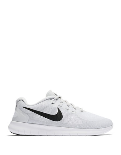 Nike Womens Free Mesh Running Sneakers-WHITE-7.5