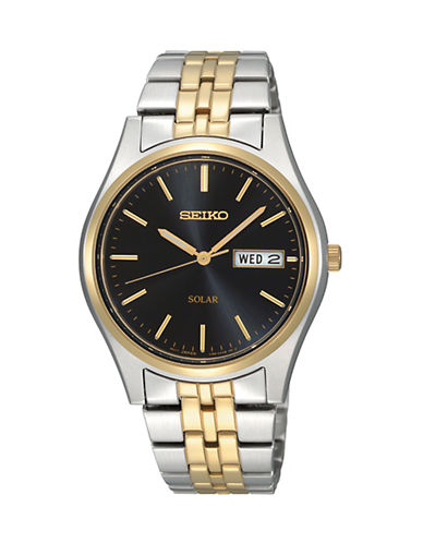 Seiko Two-Tone Stainless Steel Solar Analog Watch-TWO TONE-One Size