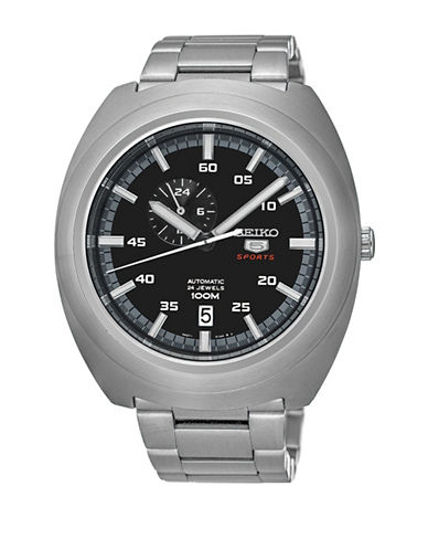 Seiko Automatic Watch with Stainless Steel Strap-SILVER-One Size