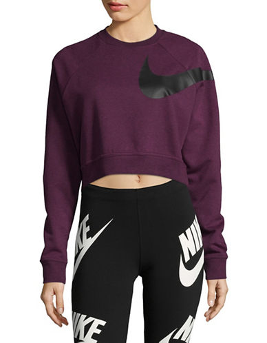 Nike Dry Logo Cropped Top-PURPLE-X-Large
