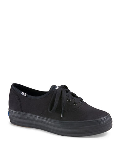 Keds Womens Triple Canvas Sneakers-BLACK-9