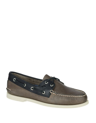 Sperry Sarape Leather Loafers-GREY-10.5