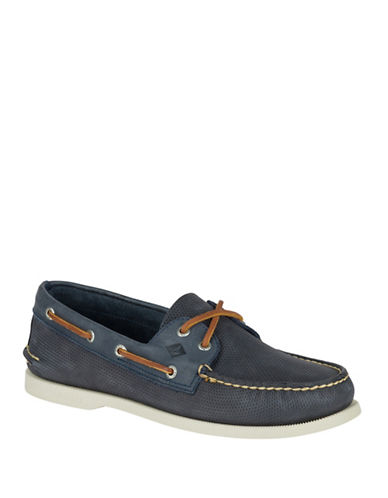 Sperry Perforated Leather Uppers-NAVY-8.5