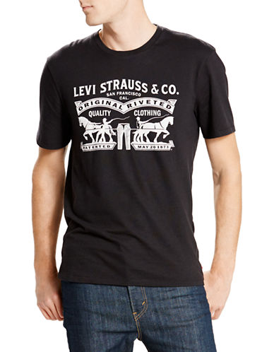 LeviS Two Horse Pull Graphic T-Shirt-BLACK-Small