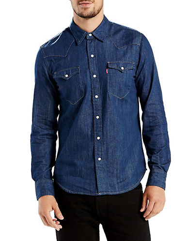 LeviS Classic Western Denim Shirt-BLUE-Large