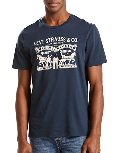 LeviS Two Horse Graphic T-Shirt-BLUE-X-Large