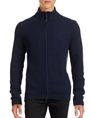 Dockers Mock Neck Ribbed Sweater-BLUE-Small