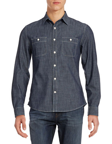Dockers Fitted Chambray Shirt-TRUE INDIGO DARK-Small