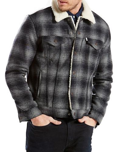 Levi'S Sherpa Plaid Trucker Jacket-GREY-Large 88662316_GREY_Large