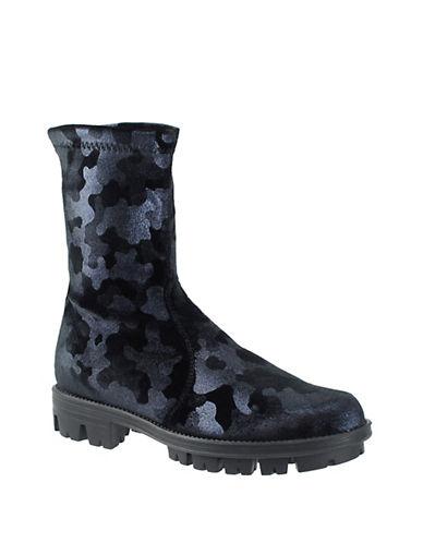 Rapisardi Ron White Nara Camo Velvet Mid-Calf Boots-NAVY-EUR 39/US 9