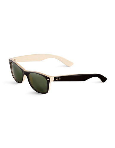 Ray-Ban 55mm Square Wayfarer Sunglasses-BLACK ON BEIGE (875)-52 mm