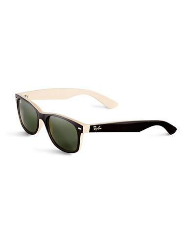 Ray-Ban 55mm Square Wayfarer Sunglasses-BLACK ON BEIGE (875)-55 mm