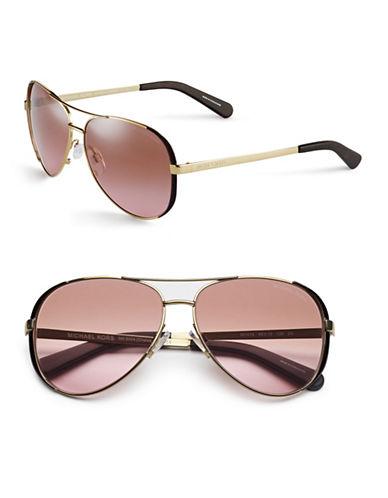 Michael Kors Chelsea 59mm Aviator Sunglasses-GOLD/DARK CHOCOLATE BROWN-One Size