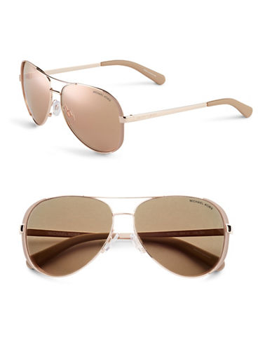 Michael Kors Chelsea 59mm Aviator Sunglasses-ROSE GOLD/TAUPE (FLASH)-One Size