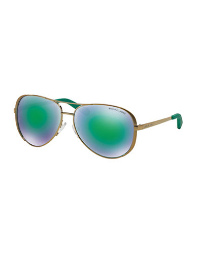 Michael Kors Chelsea 59mm Aviator Sunglasses-GREEN (FLASH)-One Size