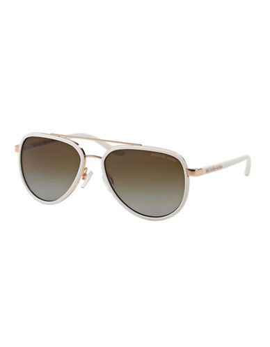 Michael Kors Playa Norte 57mm Aviators-WHITE-One Size