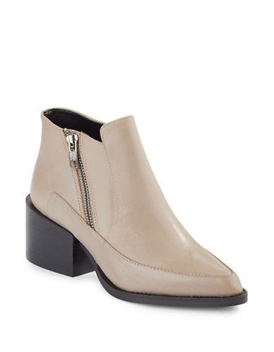 Design Lab Lord & Taylor Leather Booties-TAUPE-EUR 39/US 9