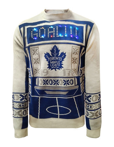 Klew Toronto Maple Leafs Light Up Sweater-BLUE/WHITE-Large