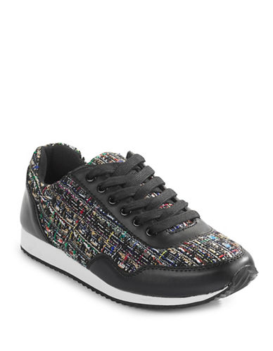 Design Lab Lord & Taylor Devico Leather Sneakers-BLACK MULTI-7