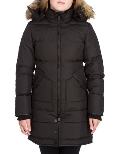 Pajar Cougar Down Parka with Faux Fur-BLACK-10-12