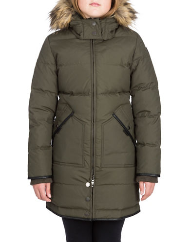 Pajar Cougar Down Parka with Faux Fur-GREEN-14-16