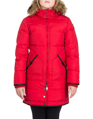 Pajar Cougar Down Parka with Faux Fur-RED-6