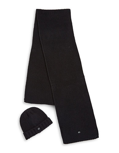 Pajar Knitted Beanie & Scarf Set-BLACK-One Size