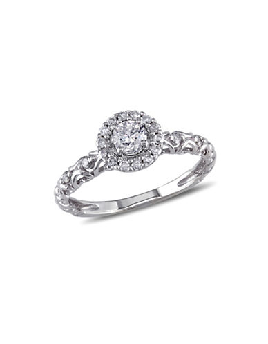 Concerto 0.5CT Diamond 14K White Gold Halo Engagement Ring-DIAMOND-5