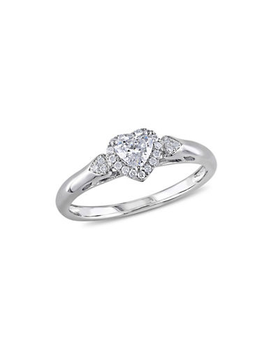 Concerto 0.4CT Diamond 14K White Gold Heart Engagement Ring-DIAMOND-9