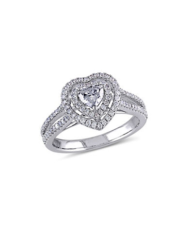 Concerto 0.75CT Diamond 14K White Gold Halo Heart Engagement Ring-DIAMOND-7