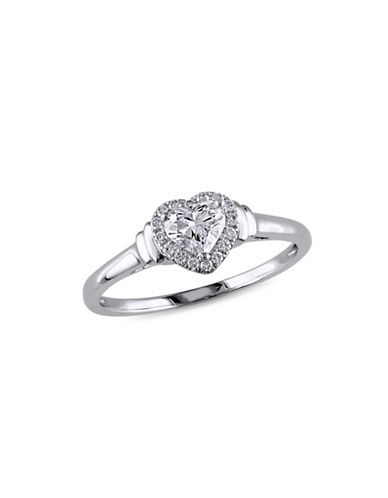 Concerto 0.5CT Diamond 14K White Gold Halo Heart Engagement Ring-DIAMOND-7