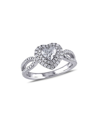 Concerto 1CT Diamond 14K White Gold Double Halo Heart Engagement Ring-DIAMOND-8