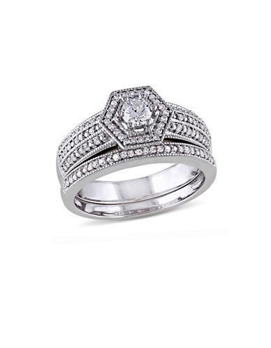 Concerto 0.5CT Diamond 14K White Gold Geometric Bridal Set-DIAMOND-9