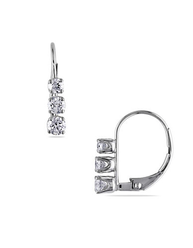 Concerto 14K White Gold 0.5 Total Carat Weight Diamond Three-Stone Earrings-DIAMOND-One Size