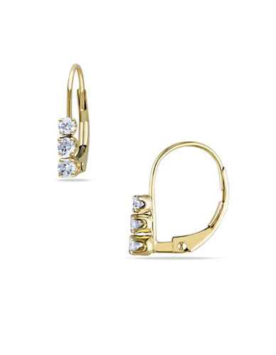 Concerto 14K Yellow Gold 0.25 Total Carat Weight Diamond Three-Stone Earrings-DIAMOND-One Size