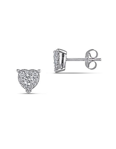 Concerto 14K White Gold 0.5 Total Carat Weight Diamond Heart Stud Earrings-DIAMOND-One Size