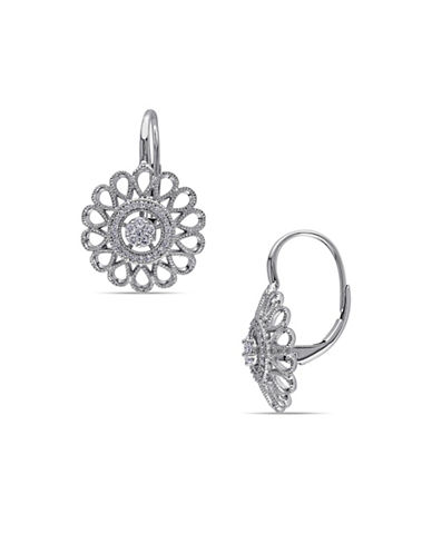 Concerto 0.25 Total Carat Weight Diamond and 14K White Gold Vintage Flower Earrings-DIAMOND-One Size